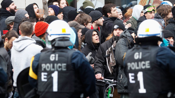 Anarchists stage protest against police brutality