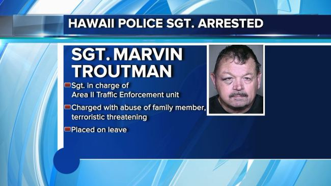 Big Island police sergeant charged with abuse, terroristic threatening
