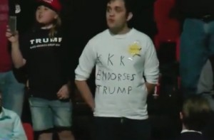 Trump Confronts Rally Protester Wearing 'KKK Endorses Trump' Shirt