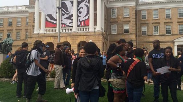 Campus protest held in reaction to arrest; traffic affected