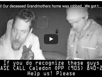 VIDEO: Police search for thieves caught on camera ransacking Caledon home